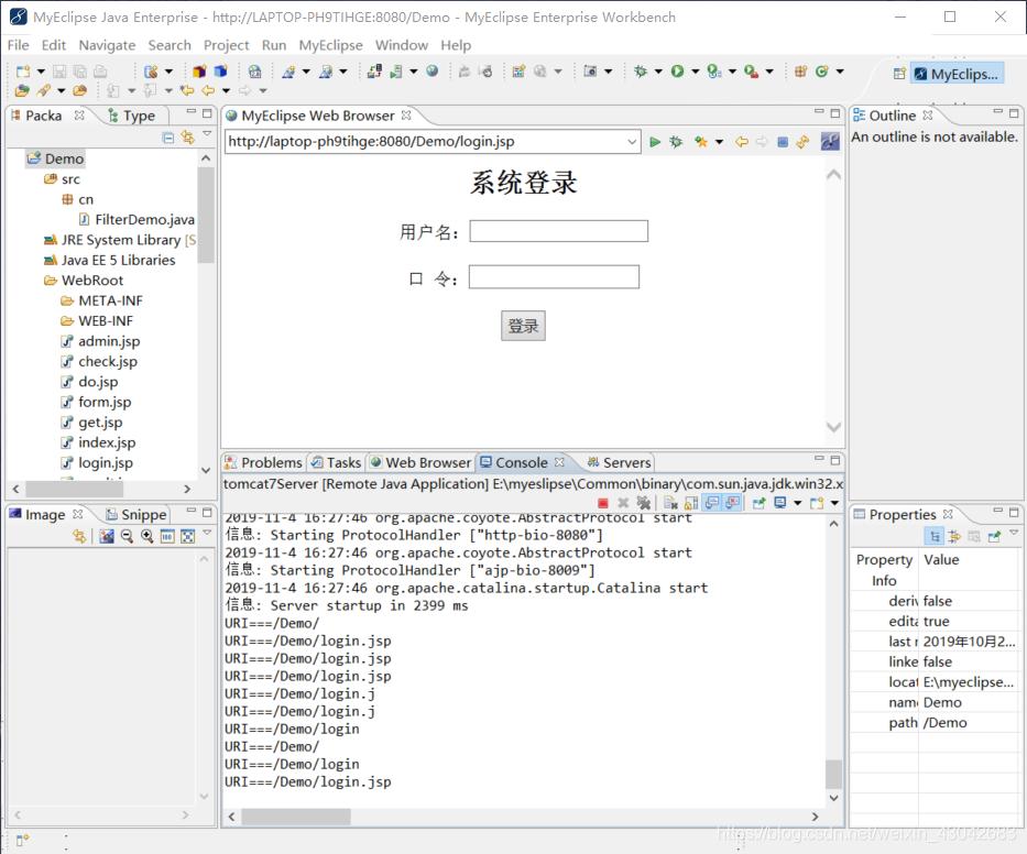 Filter--过滤器:创建一个过滤器,对所有的请 求进行过滤,并在控制台上打印被 请求的 URI。3