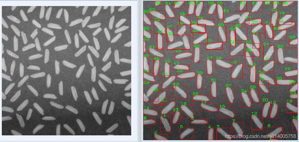 OpenCV 识别图片中的米粒个数,并计算米粒的平均面积和长度(转)1