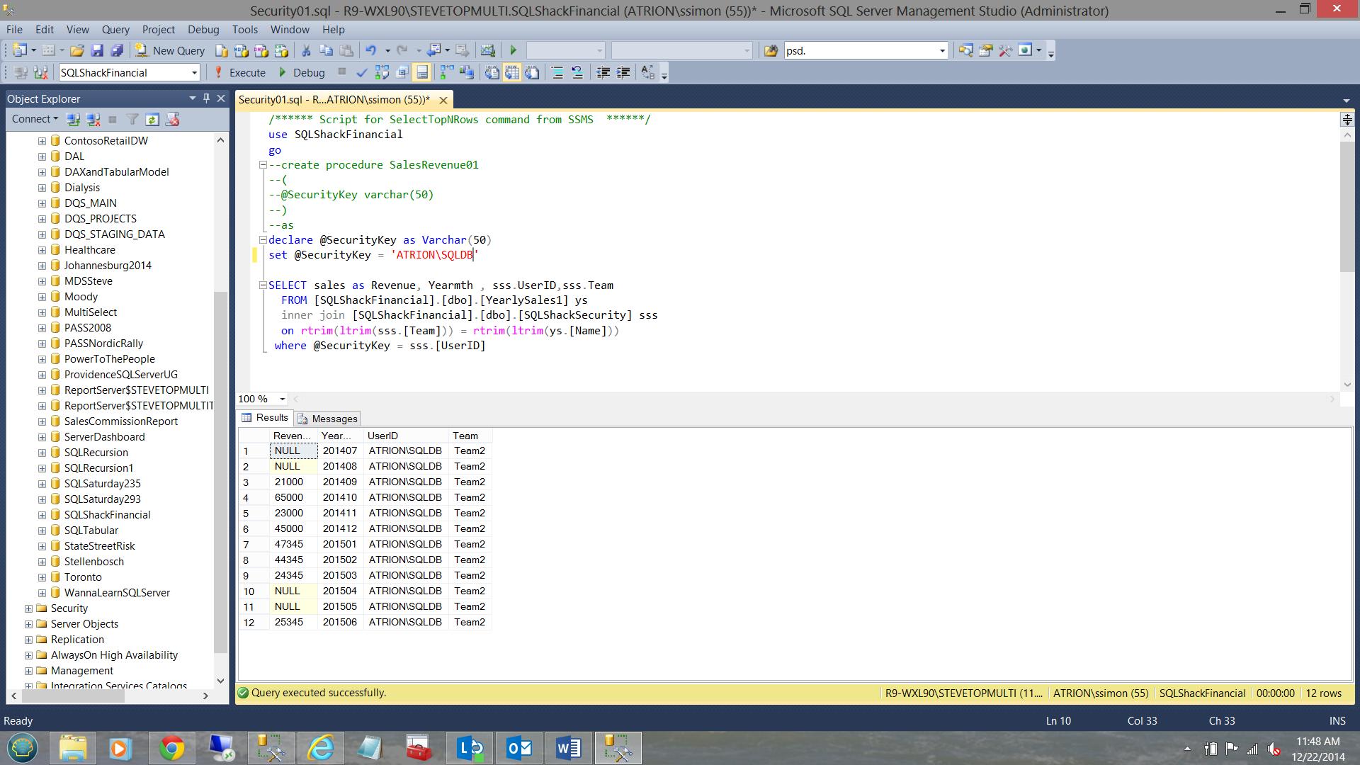 SQL Server安全机制–如何控制用户能够在报告中查看哪些数据6